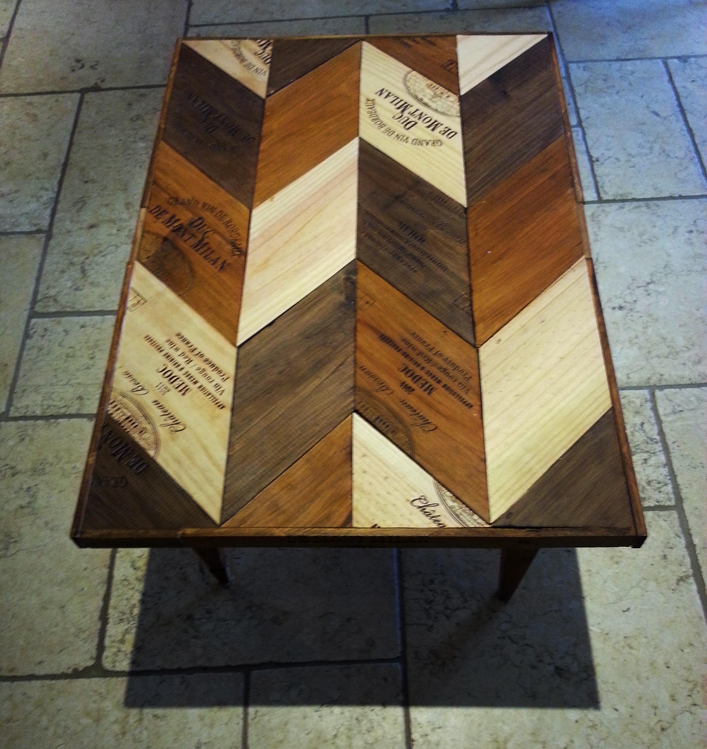 Table Basse Avec Caisse A Vin table basse chevrons caisses de vin – glenn soul'art
